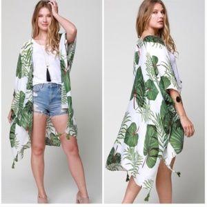 Accessories - Tropical Palm Leaf Wrap Coverup Kimono
